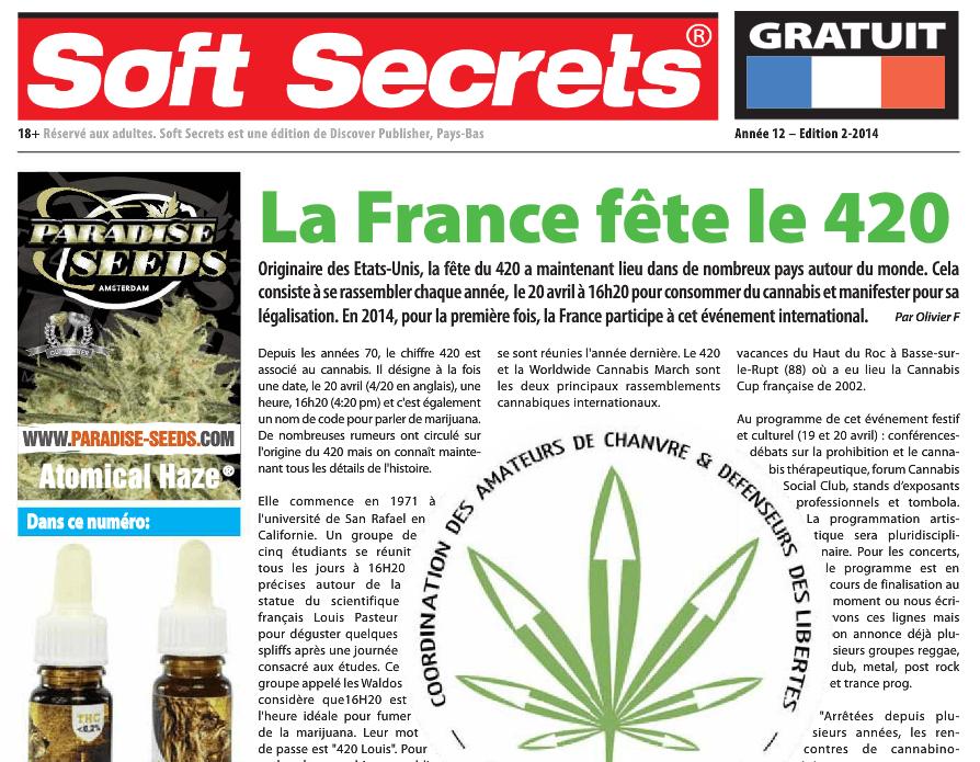 Mars 2014 – Soft Secrets – La France fête le 4/20
