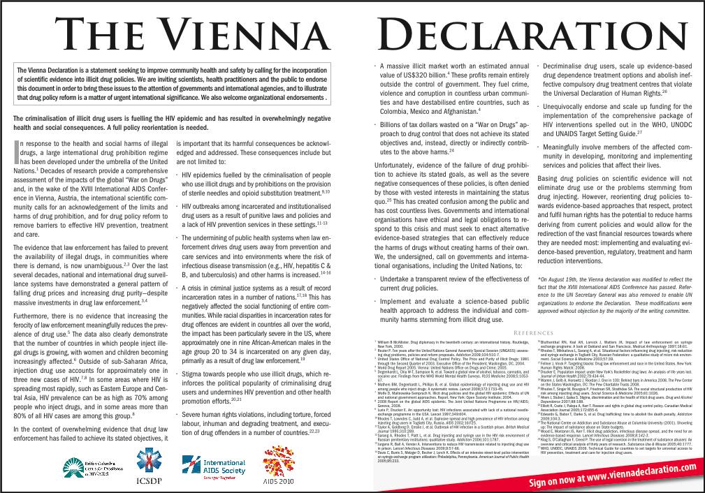 La déclaration de Vienne, toujours d'actualité.