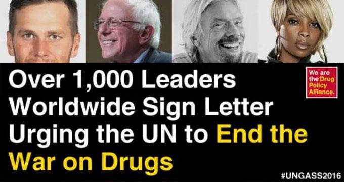 DPA, plus de 1000 dirigeant appellent à la fin de la guerre aux drogues