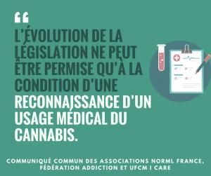 Communiqué NORML France Reconnaissance usage médical